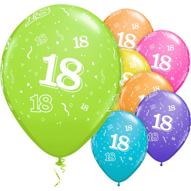 18th Birthday Latex & Foil Balloons