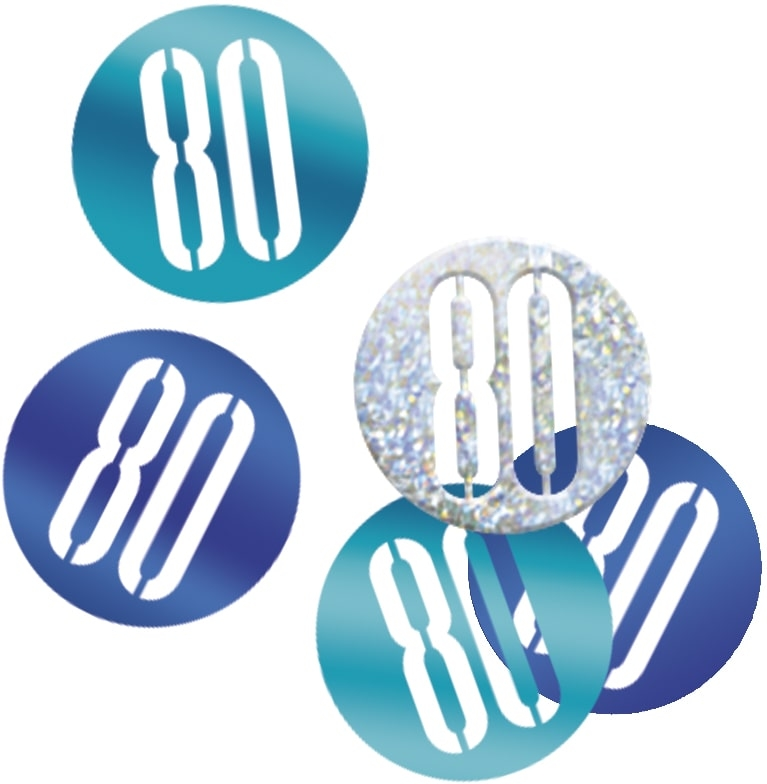 80th Birthday Blue Partyware