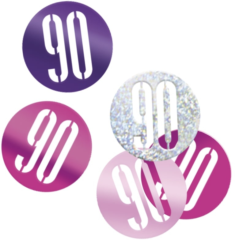 90th Birthday Pink Partyware