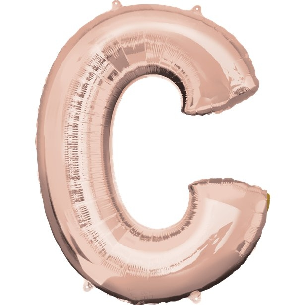"Large Letter Rose Gold Alphabet 34"" Foil Balloons"