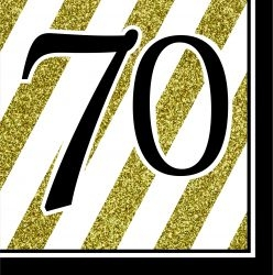 70th Birthday Black & Gold Partyware