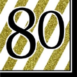 80th Birthday Black & Gold Partyware