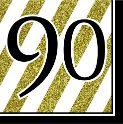90th Birthday Black & Gold Partyware